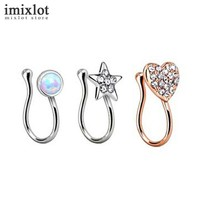 Round Heart Star Crystal Fake Nose Ring
