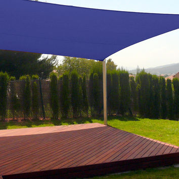 New Premium Clevr Sun Shade Canopy Sail 18' Square UV Outdoor Patio Blue