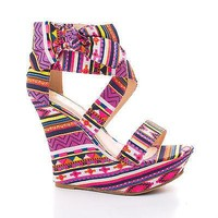 Pamela75 By Bamboo, Strappy Wrap Ankle Bow Platform High Wedge Sandals