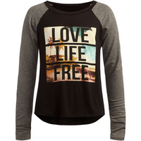 Full Tilt Love Life Free Girls Raglan Tee Black/Grey  In Sizes