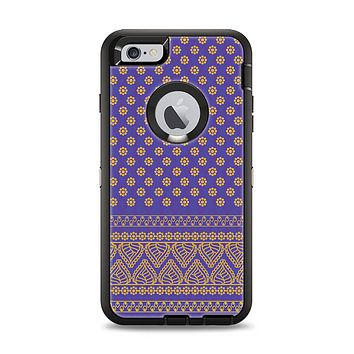 The Tall Purple & Orange Floral Vector Pattern Apple iPhone 6 Plus Otterbox Defender Case Skin Set