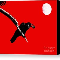 Quoth The Raven Nevermore . Red Canvas Print