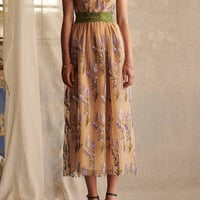 Sleeveless Embroidered Sequin Tulle And Lace Trim Dress | Moda Operandi