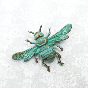 Bee Brooch Rustic Verdigris Patina Brass Bee Pin Nature Brooch Insect Wings Woodland Vintage Style Natural History Entomology Gift For Her