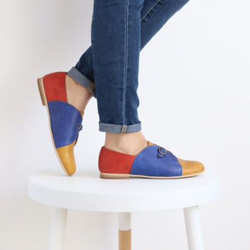 ON SALE 20% Colorful unique womens flat monk handmde leather shoes , free shipping , ADI Kilav