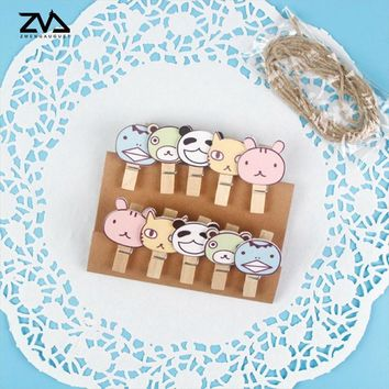 10 pcs/lot Kawaii stationery Wood Clips Photo For Clothespin Craft Clips Party decoration Clip with Hemp Rope Party Supplies