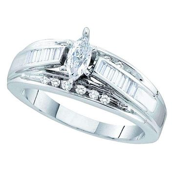 14kt White Gold Women's Marquise Diamond Solitaire Bridal Wedding Engagement Ring 1/2 Cttw - FREE Shipping (USA/CAN)