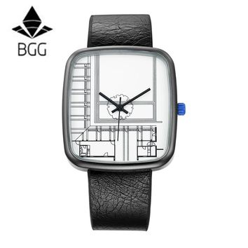 BGG Luxury Irregular Shape men wristwatch Men's Leather Strap Quartz watches Fashion Military Sport Watch creative male clock