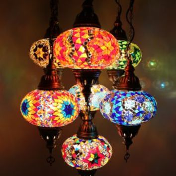 Handmade Turkish Moroccan Mosaic Hanging Lamp Chandelier 7 Large Globes