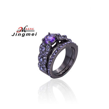 Vintage Jewelry Black Sapphire Womens Ring Set Black Gold Filled Finger Wedding Band Engagement Double Rings Unique Design