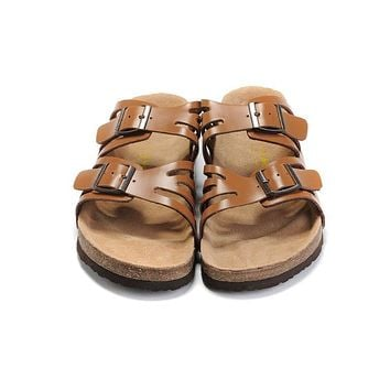 2017 Birkenstock Hot Summer Fashion Leather Cork Flats Beach Lovers Slippers Casual Sandals For Women Men Couples Slippers color brown size 36-45-1