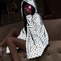 LV Louis Vuitton Newest Fashion Women Men Cool Reflective Hooded Zipper Jacket Coat Windbreaker