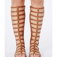 Missguided - Kendy Metallic Caged Gladiator Sandals In Tan