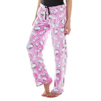 Hello Kitty Juniors Fleece Plush Lounge Pajama Pants Pink - Walmart.com