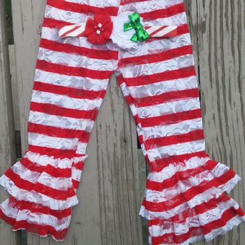 Red and White Girls Lace Ruffle Leggings - Baby - Christmas - Pirate - Halloween - Photos