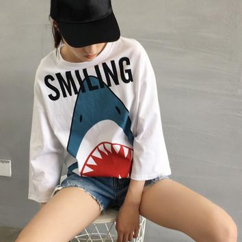 One-nice™ Large version of shark print long T-shirt loose seven-sleeved blouse with a blouse