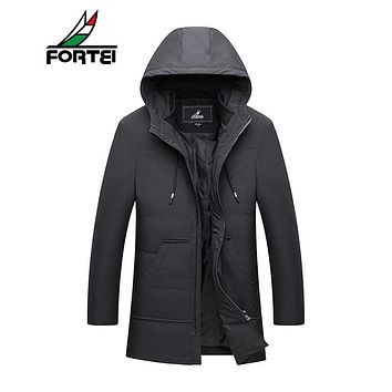 FORTEI Men's Winter Hooded Packable Down Jacket Insulated Light Weight Puffer 90% White Down Jacket Men plus size 4XL 177