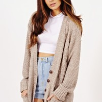 Georgia Oversized Granddad Cardigan In Beige | Shelikes