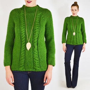 vintage 70s green HAND KNIT sweater / green cable knit sweater / green sweater / handmade sweater / mock neck sweater / boho hippie / s m