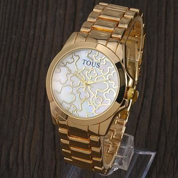 TOUS 2018 trendy men and women with the same fashion wild quartz watch F-YY-ZT Gold
