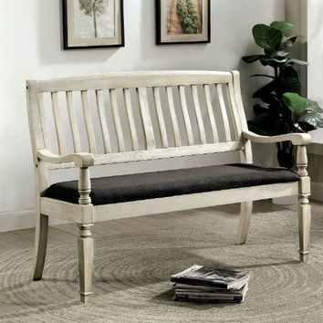 Furniture of america CM3089LV Georgia antique white finish wood entry bedroom bench