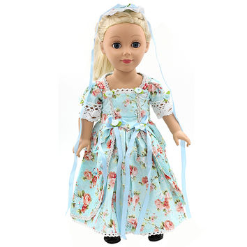 "American Girl Doll Clothes Elegant Color Flower Print Long Dress Doll Clothes For 18"" American Girl Best Gift 5 Colors D-2"