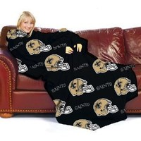 New Orleans Saints Adult Comfy Throw Blanket with Sleeves