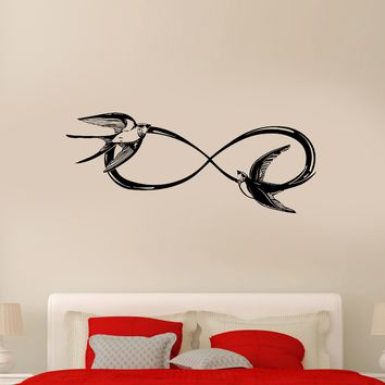Wall Decal Infinity Swallow Vintage Birds Love Bedroom Vinyl Sticker (ed1107)