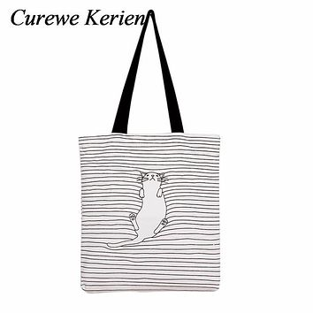 Shoulder Shopping Bags Tote Women Beach Bags Catoon Cute Striped Napping Cat Cotton Canvas Handbags Female Single bag Jan22