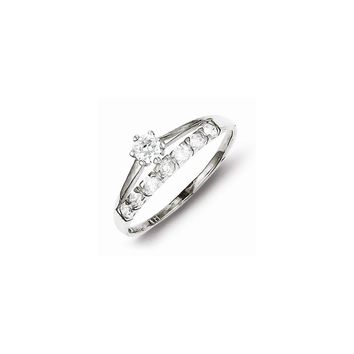 Sterling Silver Row and Solitaire CZ Engagement Ring