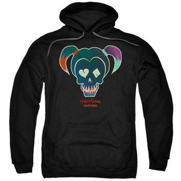 ac spbest Suicide Squad - Harley Skull Adult Pull Over Hoodie