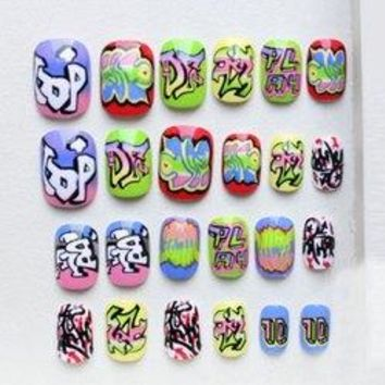 24 PCS Stylish Punk Style Letters Pattern Nail Art False Nails