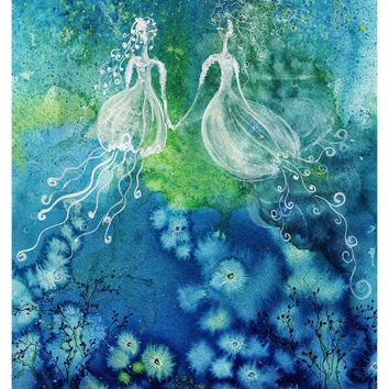 Sisters - Art Print blue mermaid jellyfish sea fairy sister love nymph ocean fairies magic gown watercolor painting Oladesign 11x14