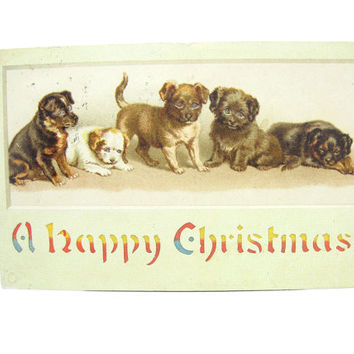 Antique Christmas Card. Hold to Light Postcard. HTL. Puppy Dogs. Victorian Chromolithography, Die Cut. Vintage 1910s Collectible Décor