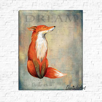 Dream print Fox print Watercolor Fox printable Orange and gray Nursery fox decor Boys bedroom wall art Dorm DOWNLOAD 16x20 11x14 8x10 5x7