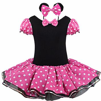 2017 Kids Gifts Minnie Mouse Party Fancy Costume Cosplay Girls Ballet Tutu Dress+Ear Headband Girls Polka Dot Dress Clothes Bow