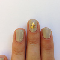 Weed nail charm  14k Gold plated by HEXNAILJEWELRY on Etsy