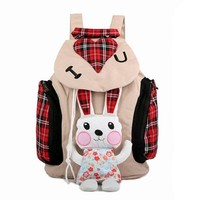 Cute Rabbit Canvas Backpack