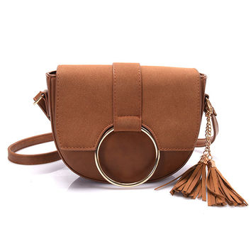 Vintage Nubuck PU Leather Saddle Bag Purses Tassel Women Bag Leather Handbags Crossbody Shoulder Bags Woman Messenger Bags Small