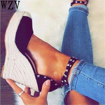 woman chaussure wedge heels platform women sexy sandals pumps peep toe cross-tied rivet punk zapatos mujer ladies shoes D046