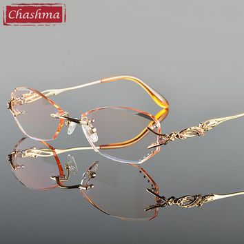 Chashma Luxury Tint Lenses Myopia Glasses Reading Glasses Diamond Cutting Rimless Titanium Glasses Frame for Women