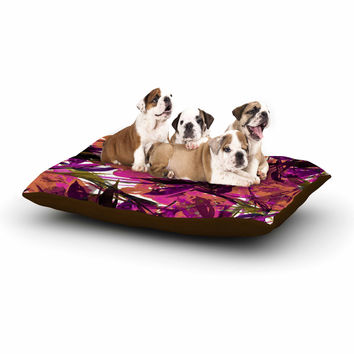 "Ebi Emporium ""Floral Fiesta Pink Plum"" Watercolor Painting Dog Bed"
