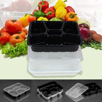 10Pcs/Set Meal Prep Containers Food Storage Bento Box 5 Compartments Lunchbox With Lids Microwavable Home Office Dinner Box