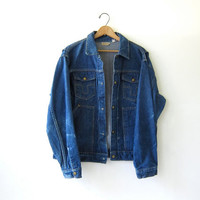 20% OFF SALE. Vintage 70s Big Smith dark wash jean jacket. Denim jean jacket.