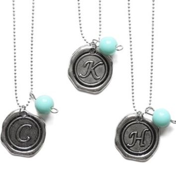 A Touch of Aqua Monogram Necklaces-Perfect Holiday Gifts