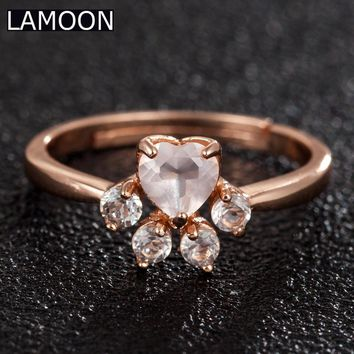 LAMOON Bear's Paw 100% Natural Gemstone Pink Rose Quartz Rings For Women 925 Sterling Silver Fine Jewelry Wedding Band Ring