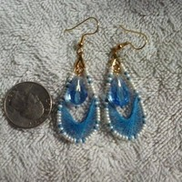 Blue, ivory and gold thread wrapped earrings