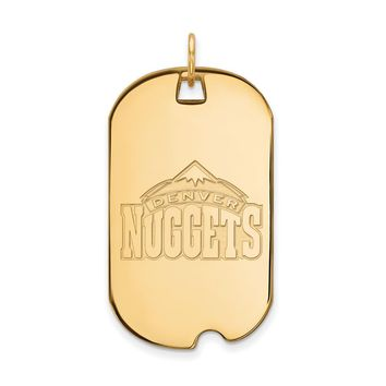 NBA 14k Yellow Gold Plated Silver Denver Nuggets Large Dog Tag Pendant