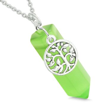 Magical Tree of Life Energy Amulet Lucky Crystal Point Green Simulated Cats Eye Pendant 22 Inch Necklace