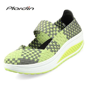 plardin 2017 Summer Wedges Colorful Breathable Beach Sandals Woven Platform Woman women's Sandals Shoes For women Jelly Shoes